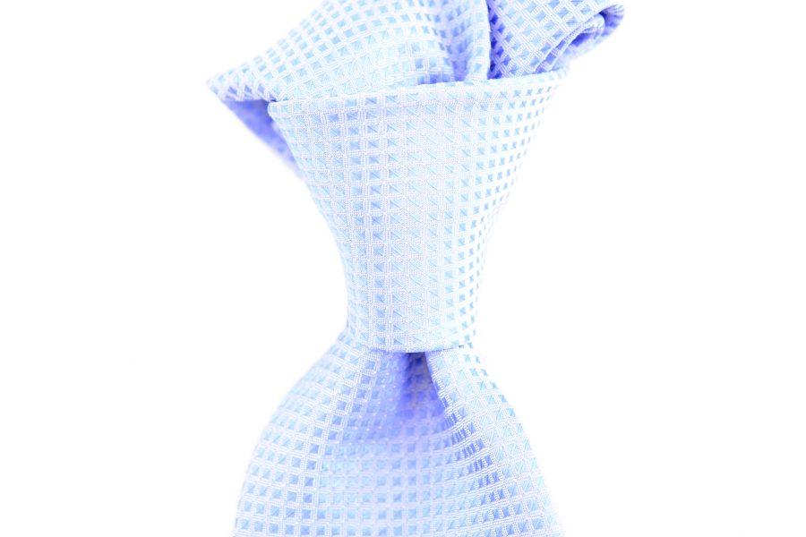 Seidenkrawatte mit Waffelmuster hellblau